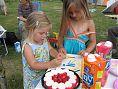 De meiden zetten kaarsjes op de verjaardagstaart